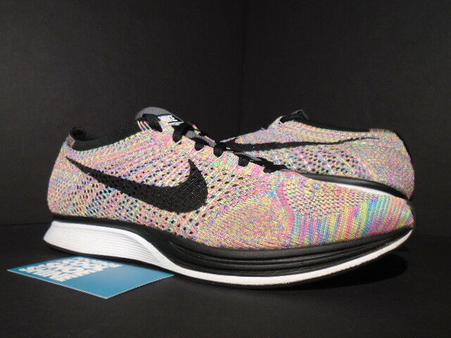 NIKE FLYKNIT RACER ONE MULTICOLOR DARK WHITE GREY BLUE GLOW PINK WHITE DARK 526628-004 10 ba8922