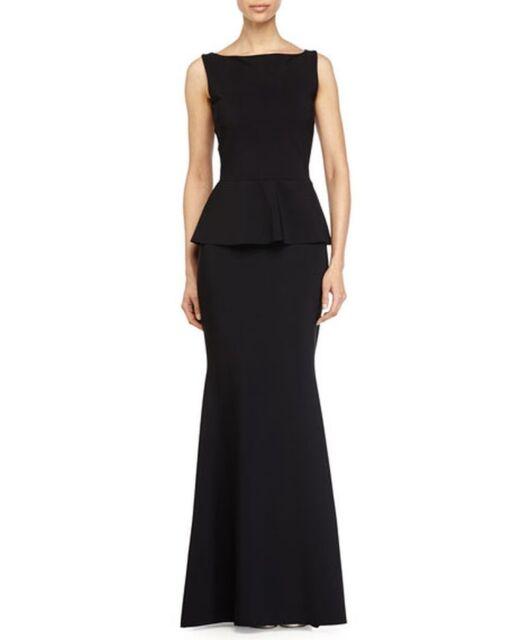 612ff200 NWT Chiara Boni La Petite Robe Black Milla Peplum Mermaid Gown 50 (US 14)