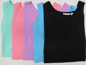NEW-Susan-Graver-Crocheted-Trim-Stretch-Cotton-Sleeveless-V-Neck-Shirt-Womens