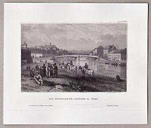 Wien-Osterreich-Teilansicht-an-der-Ferdinand-039-s-Bruecke-Stahlstich-um-1850