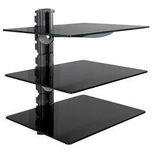glas regal konsole tv wandhalterung wandregal 3 ablagen f r dvd hifi player neu ebay. Black Bedroom Furniture Sets. Home Design Ideas