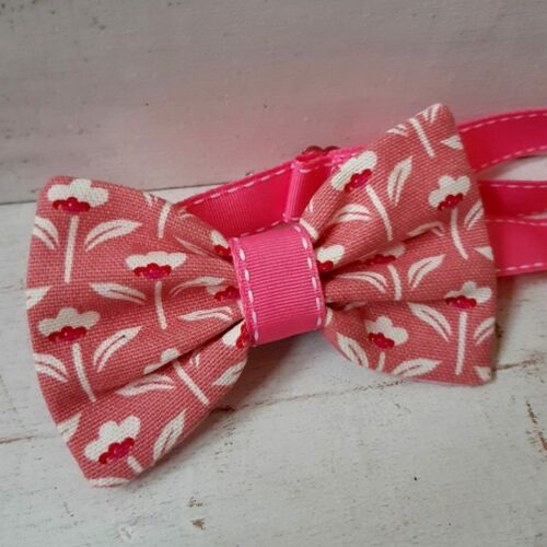 PINK FLOWERS PURE COTTON LINEN BOW TIE DICKIE WEDDING ASCOT STEAMPUNK DAPPER
