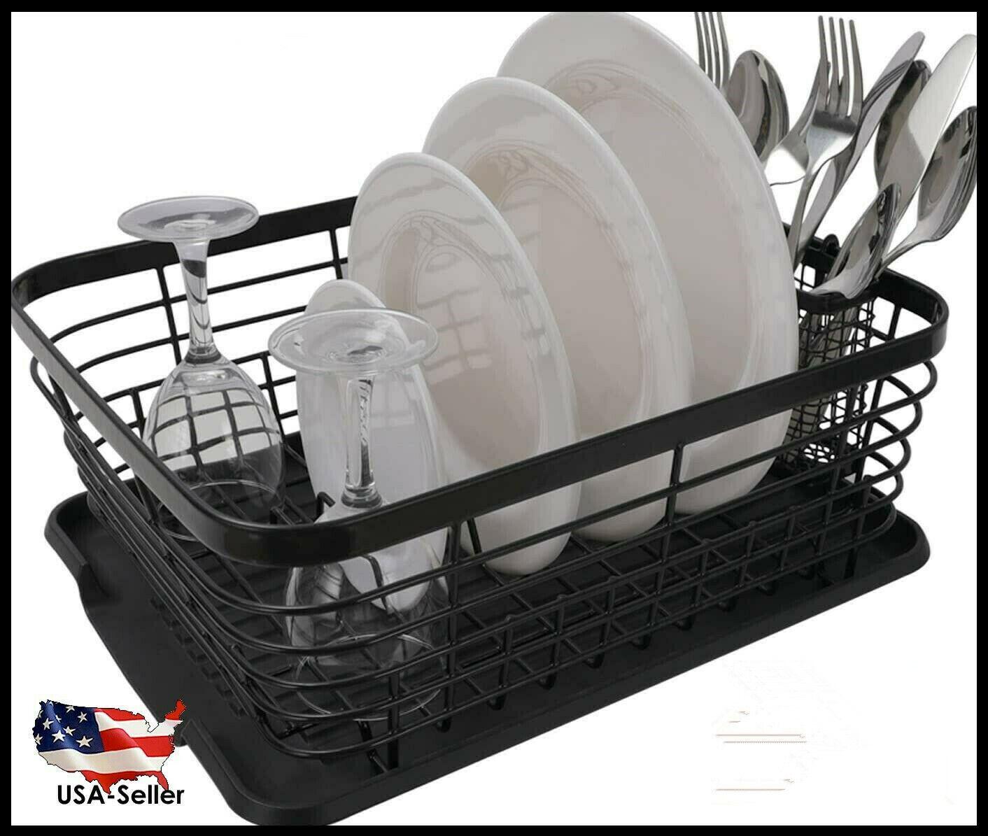 3 Tier Dish Drying Rack w// 2 Drip Tray Kitchen Organize Cutlery Shelf Drainer US