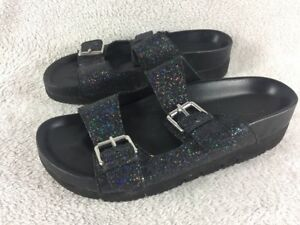 Ash Flop 38 Glitter Sandals Black Eu Flip 5 Uk 4qw4FOA
