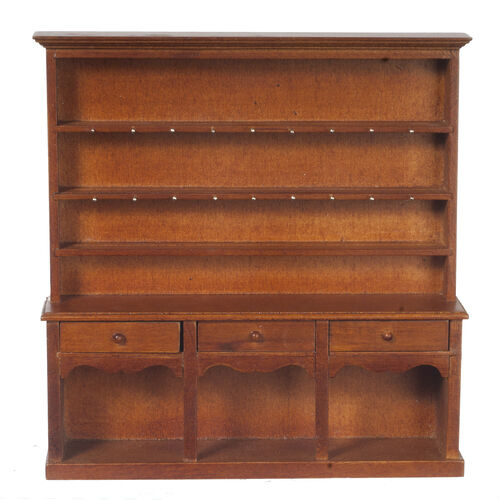 DOLLHOUSE MINIATURE Wooden Victorian Welsh Dresser Kitchen Display Cabinet