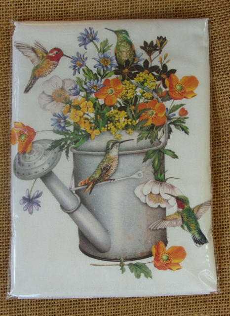 Mary Lake Thompson Flour Sack Towel - Flowers in Watering Can, Hummingbirds