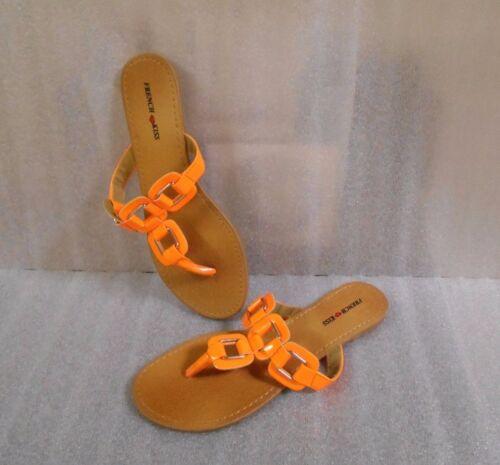 New French Kiss Orange Bridgit Sandals New In Box