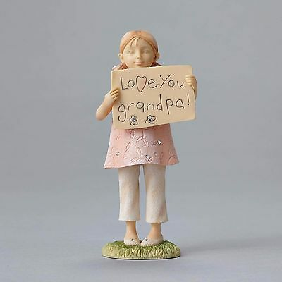 New FOUNDATIONS Figurine LOVE YOU GRANDPA Statue CRYSTAL Baby Girl Granddaughter