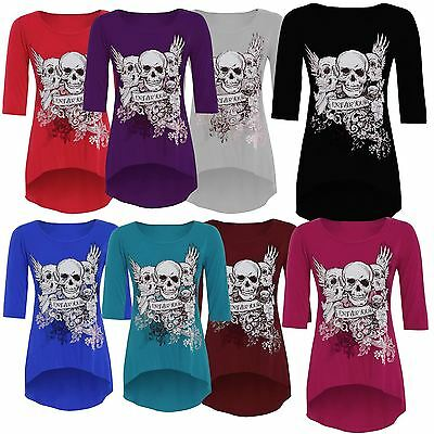 New Womens Plus Size ¾ Sleeve Skull Print High Low Dip Hem
