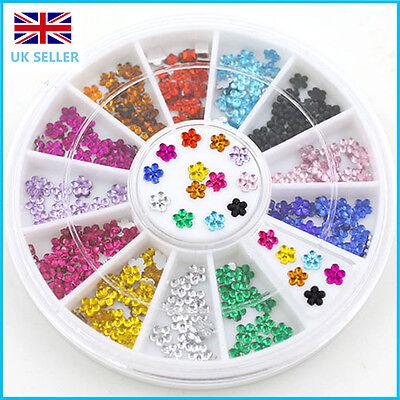 3D Acrylic UV Gel Mix Styles Rhinestones Gems Nail Art Decoration Flowers