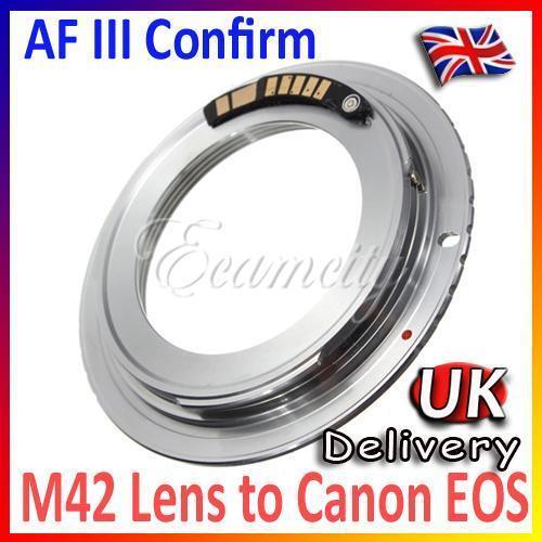AF III Confirm M42 Lens to Canon EOS EF Mount Adapter 600D 550D 500D 60D 50D 40D