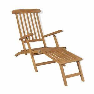 Détails sur vidaXL Bois de Teck Solide Chaise de Terrasse avec Repose-pied  Transat Jardin