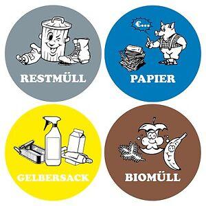 Aufkleber Mülltrennung Mülltonne Abfalltonne Mülleimer 1set
