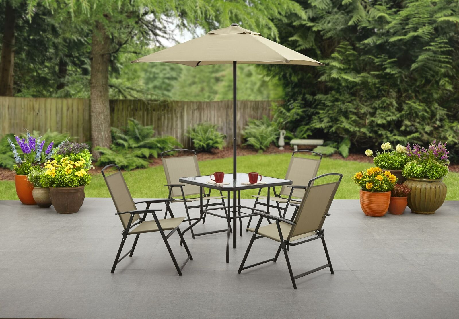 Mainstays Outdoor Patio Dining Metal And Folding Set Table Umbrella And 4 Chairs For Sale Online Ebay