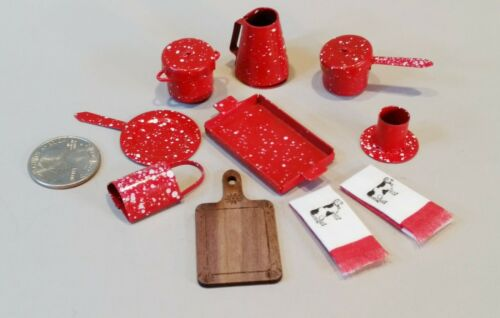 Dollhouse Miniature Red Enamelware Acc#13 not counting lids! lot of 10