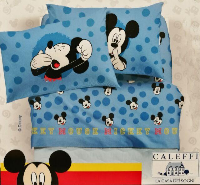 Lenzuola Matrimoniali Mickey Mouse.Completo Lenzuola Mickey Mouse Disney Caleffi Una Piazza E Mezza Q937