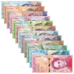 Venezuela-Set-12-PCS-2-100-500-20000-Bolivares-2007-2017-UNC