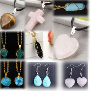 Natural Stone Pendants Choker necklace women jewelry natural stone pendants heart cross image is loading choker necklace women jewelry natural stone pendants heart audiocablefo