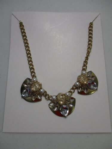 Lee By Lee Angel Leila Necklace Gold Crystal Pink Fan Necklace Neiman Marcus NWT