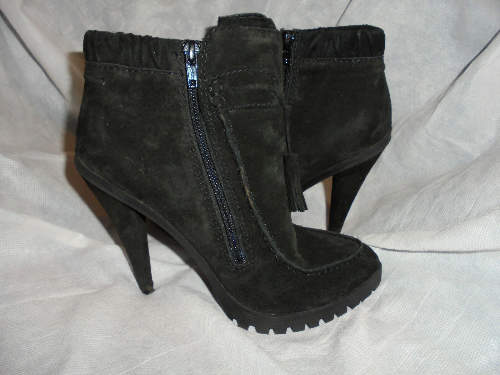 KG BY KURT GEIGER WOMEN BLACK SUEDE LEATHER SIZE ZIP ANKLE BOOT  SIZE LEATHER UK 5 EU 38 VGC 176424