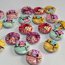50 Pcs/ Mixed 2 Holes Owl Round Pattern Wood Buttons Scrapbooking RDKU 20mm