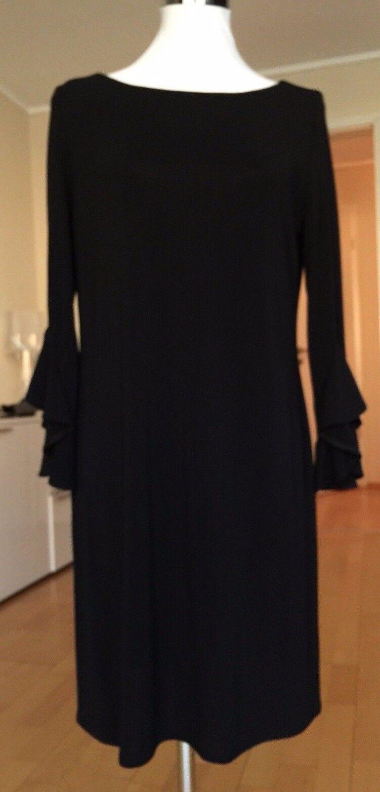 Kleid mit Volantärmel von List, Schwarz, Größe 40