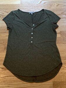 Charlotte-Russe-Womens-Green-Short-Sleeve-Button-Linen-Blend-T-Shirt-Size-Small