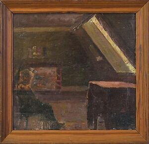 Interior-034-chamber-under-the-roof-with-person-039-oil-paintings-1920er-years-Framed