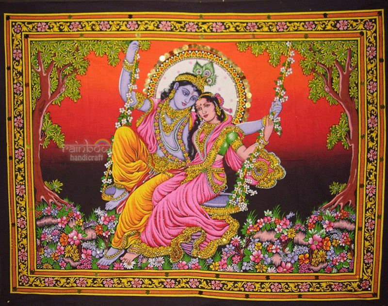 Hindu Krishna Radha Swing Sequin Wall Hanging Indian