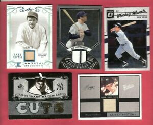 BABE-RUTH-BAT-MICKEY-MANTLE-ROGER-MARIS-GAME-USED-JERSEY-BILLY-MARTIN-PANTS-CARD