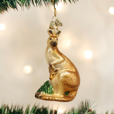 Kangaroo Polish Blown Glass Christmas Ornament Australian Wildlife Decoration