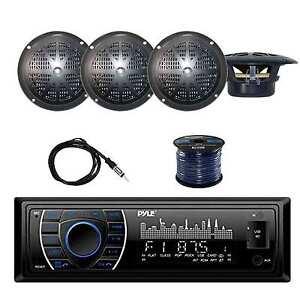 PLRMR27BTB In-Dash Receiver w/Pyle Speakers, EKMR2 Antenna & Speaker Wire