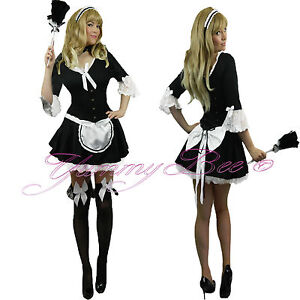 French-Maid-Victorian-Fancy-Dress-Costume-Ladies-Outfit-Plus-Size-6-20-Waitress