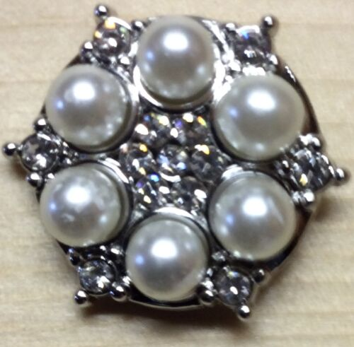 Snap Chunk Button Pearl And Rhinestone Charm For Ginger Snap Style Jewelry ;