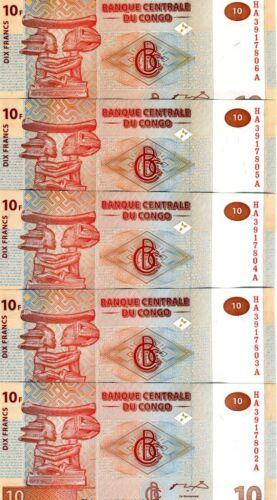 R UNC P-93 LOT Congo D 5 x 10 Francs 2003