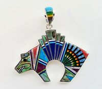 Handcrafted Kachina .925 Silver Spirit Bear Pendant Turquoise/multicolor Inlay
