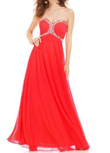 Vestido de noche  Xscape Vestido SZ 10 Neon Coral con cuentas de Malla de corsé sin tirantes formal  Felices compras