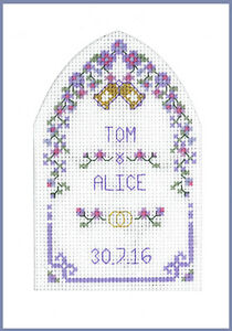 Cross-stitch-Wedding-Greetings-card-with-arch-complete-kit-on-16-aida-in-mauve