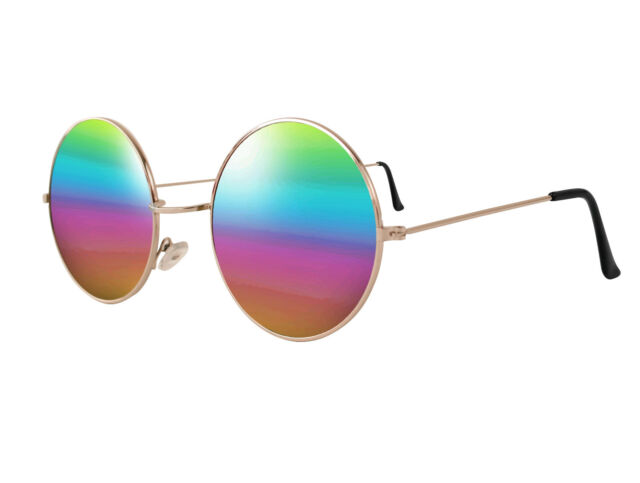 6c38c1678dd Vintage Retro Mirrored Round Circle Vintage 60s Mens Sunglasses Rainbow Gold