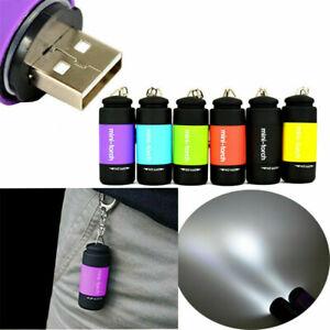 Mini LED Waterproof Light USB Rechargeable Flashlight Lamp Pocket Keychain Torch