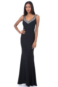 ef1e9ffd24c Image is loading Ladies-Womens-Black-Elegant-Evening-Dress-With-Diamante-
