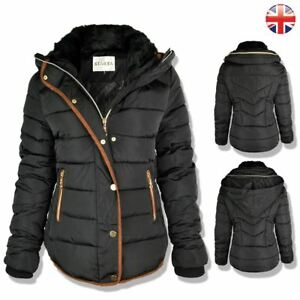 60df14671b88 Womens Ladies Quilted Winter Coat Puffer Fur Collar Hooded Jacket ...