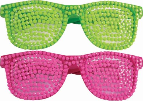 80s Rhinestone Fancy Party Dress Costume Glasses Neon Pink Or Green