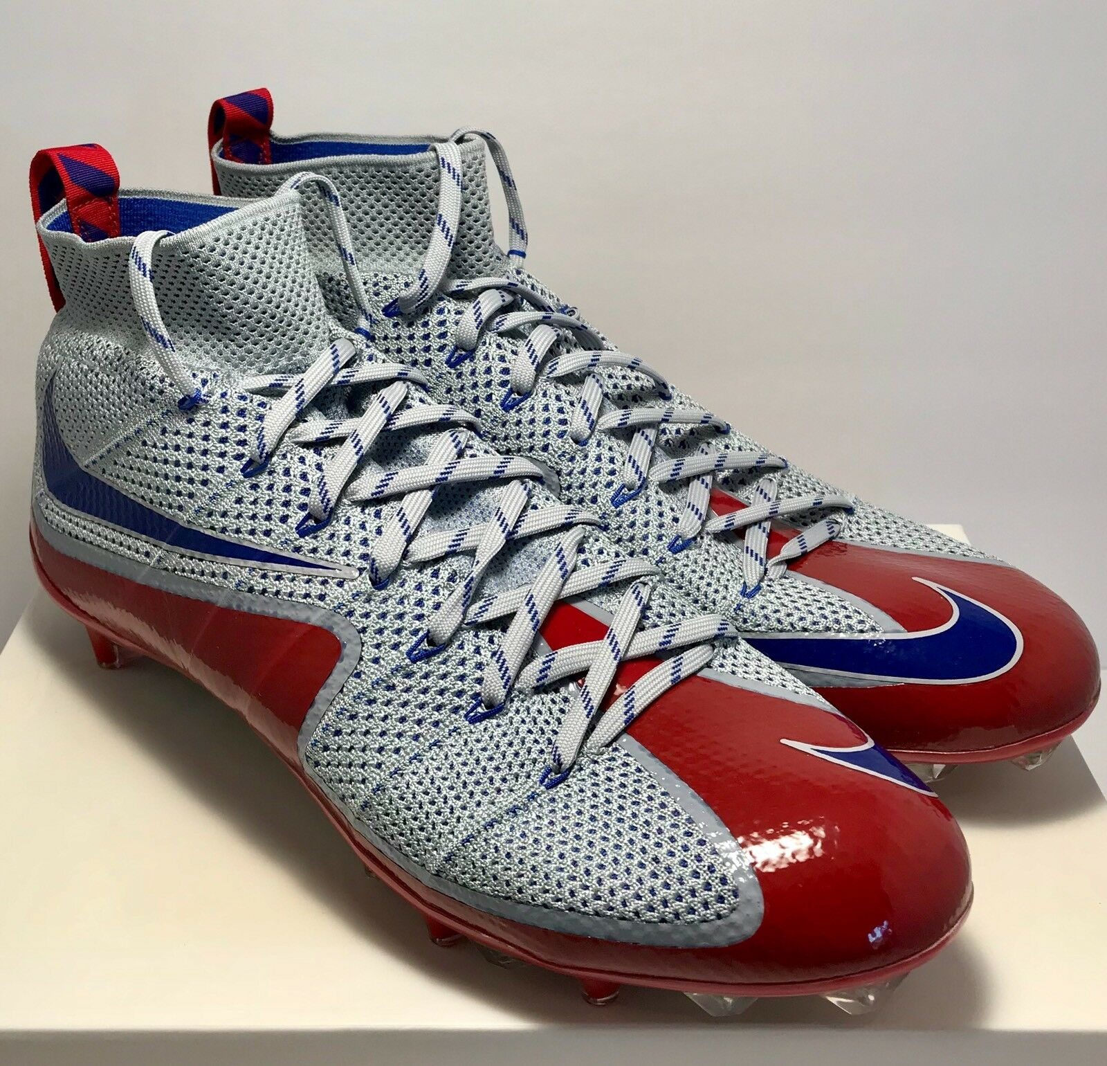 $220 Nike Mens Size 14 Untouchable 1 Wolf Grey Red Blue Football Cleats Rare New