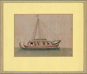 Framed-Late-19th-Century-Gouache-Chinese-River-Boat