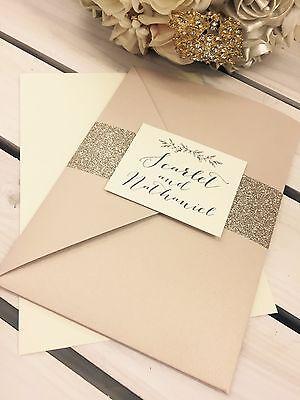1 /'Scarlet/' Nude pocket wedding invitation//RSVP//menu sample /& gold glitter wrap