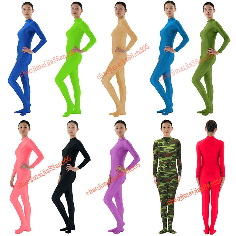 Full Body Bright Lycra Spandex Zentai Skin Suit Costume Party Tight Skinsuit