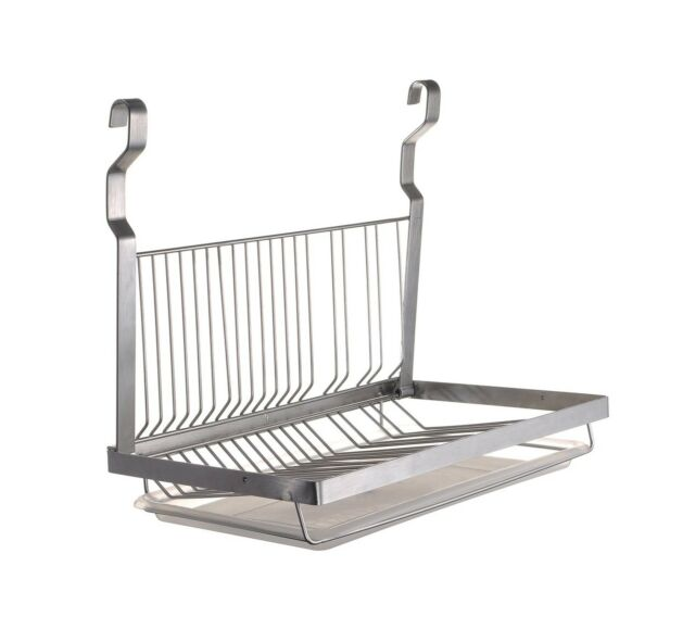 ESYLIFE Stainless Steel Hanging Dish Drying Rack with Drain Board, Silver