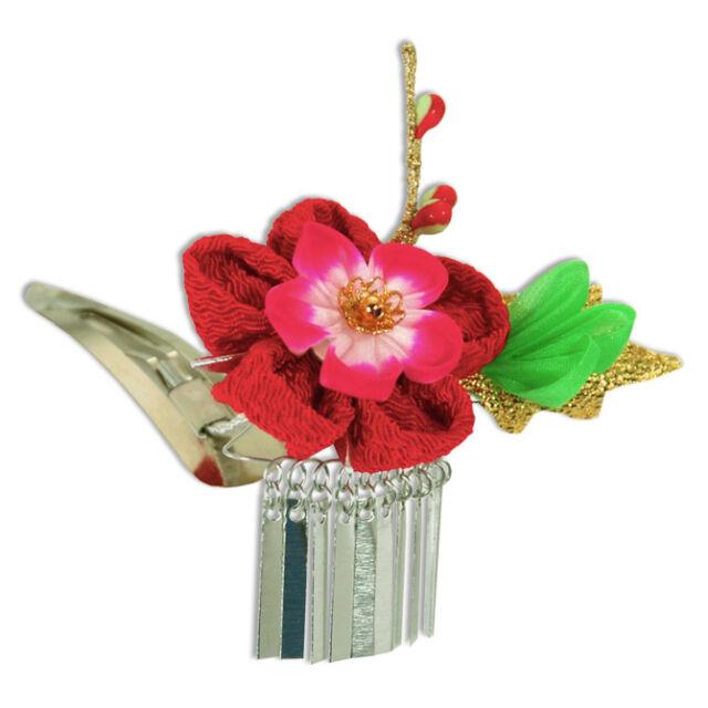 """Japanese Hand-made Kimono Bira-Bira """"Hana"""" Red Flower Tsumami Kanzashi Hair Clip"""