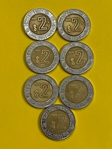 MEXICO-BI-METAL-2-PESOS-2007-TO-2013-FREE-SHIPPING
